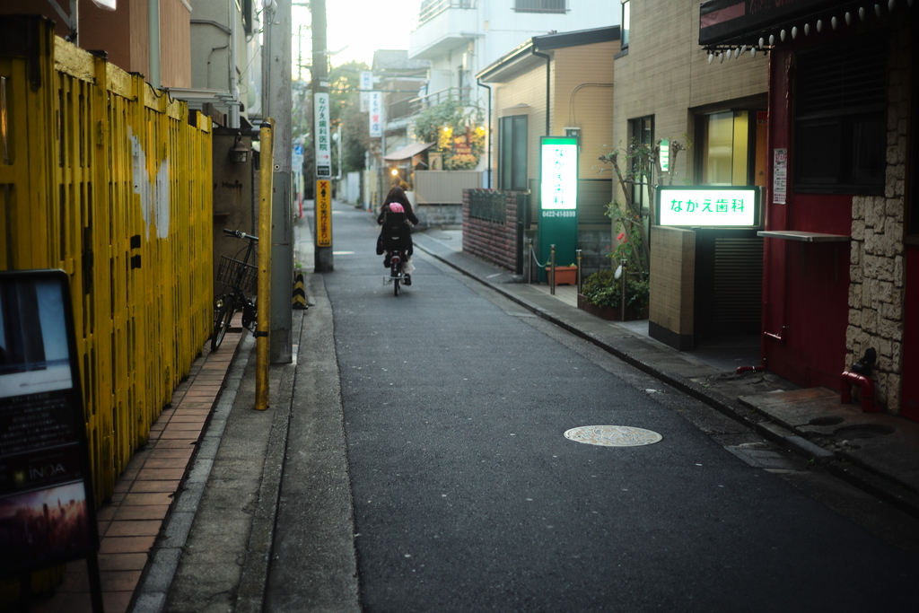 I originally hoped to shoot a yello wall on the left side. But a bike over there is good after all.