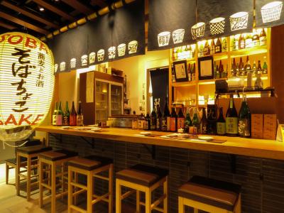 チカマチラウンジ内「そばちょこ」日本酒と蕎麦を気軽に楽しめます。