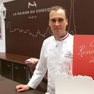 """フランス国家最優秀職人章""""M.O.F.""""ショコラティエ部門を獲得したニコラ・クロワゾー。"""