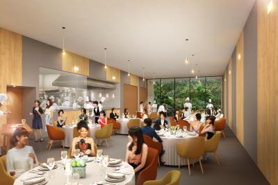 新店は3階建ての構造に!地下1Fではバンケットスタイルでお食事を楽しめます◎