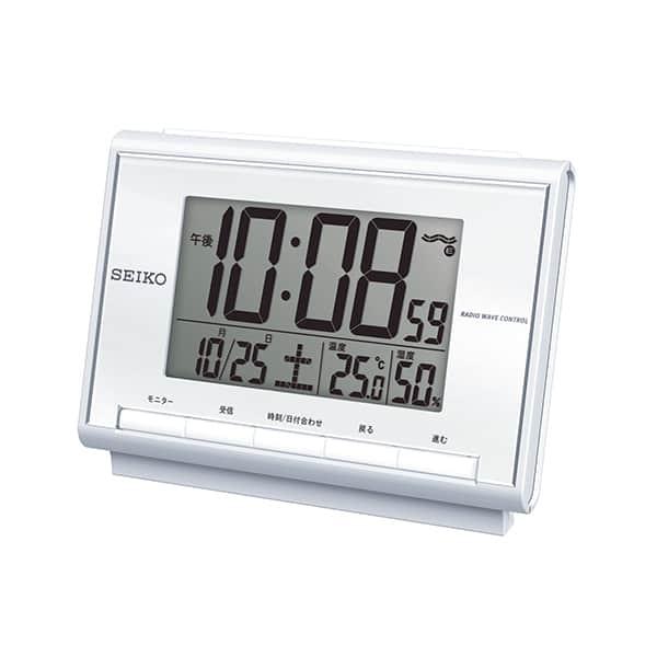 シンプルデザインで見やすい。デスクでも邪魔にならないコンパクト。セイコークロック 電波目覚し時計 SQ698S