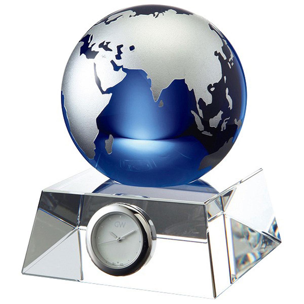 NARUMI グラスワークス ブルーアース卓上時計 M