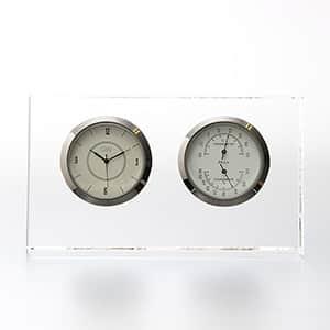 NARUMI グラスワークス 温湿度計付時計