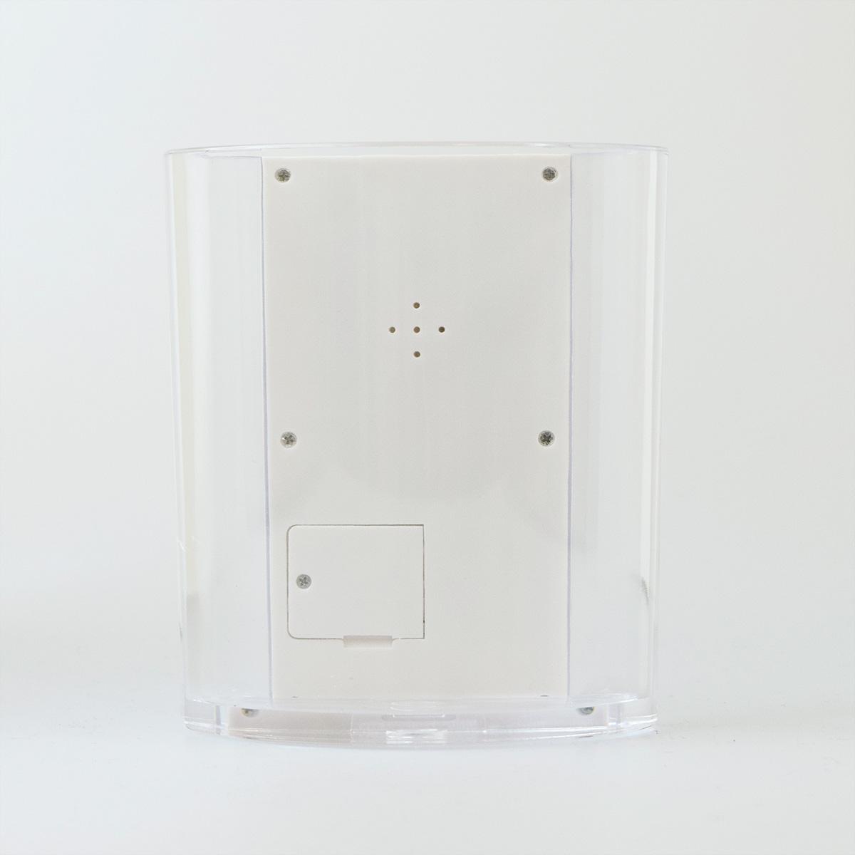 ペン立て多機能時計 クリア×ホワイト 電池付き 包装箱入り