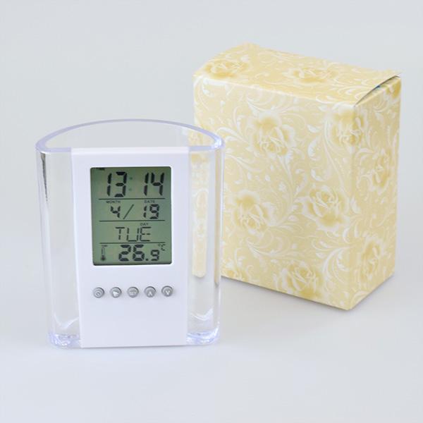 ペン立て多機能時計 クリア×ホワイト 電池付き 包装箱付