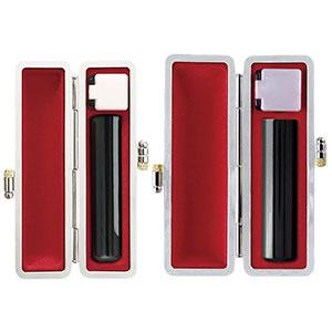 印鑑 銀行印・実印2本セット 芯持黒水牛 12mm・15mm 銀枠牛革グランドケース