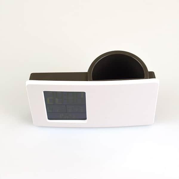 ペンスタンドクロック『ブランコ』 多機能時計付き ホワイトxブラウン