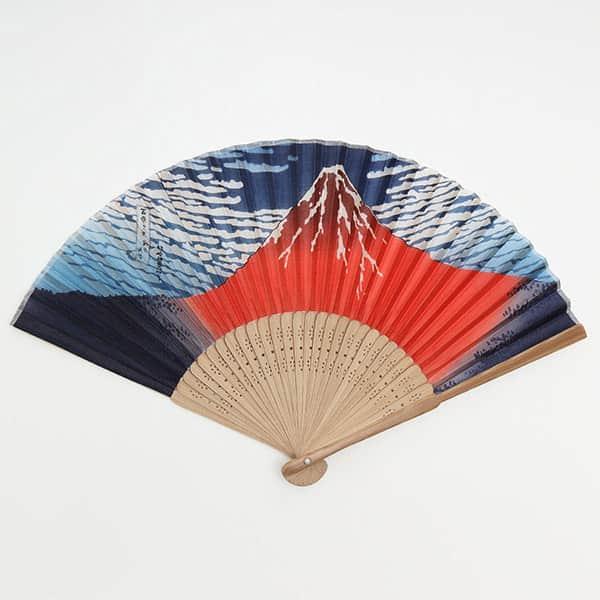 伏見上野 和柄扇子 唐木中彫 北斎赤富士 箱付き