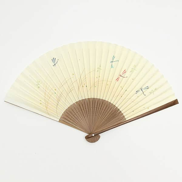 伏見上野 京扇子 唐木中彫 トンボ 箱付き