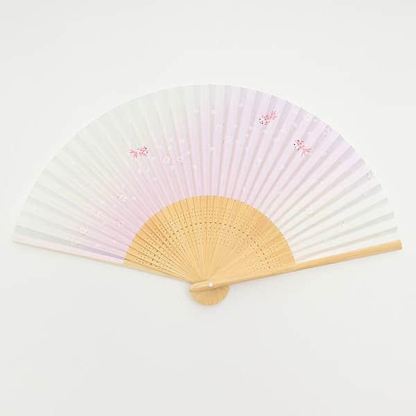 伏見上野 高級絵付扇子 婦人用 白竹中彫 金魚 箱付き