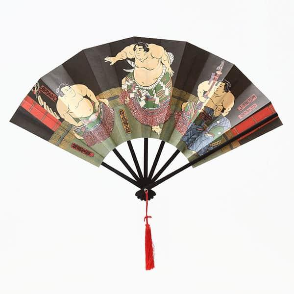 伏見上野 飾り扇子 相撲絵図扇 梅ケ谷