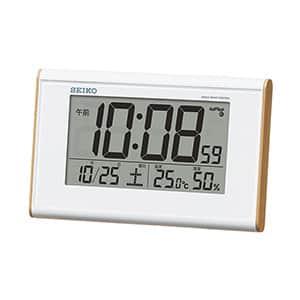 セイコークロック 温湿度表示付きデジタル電波時計 広視野角 SQ771B