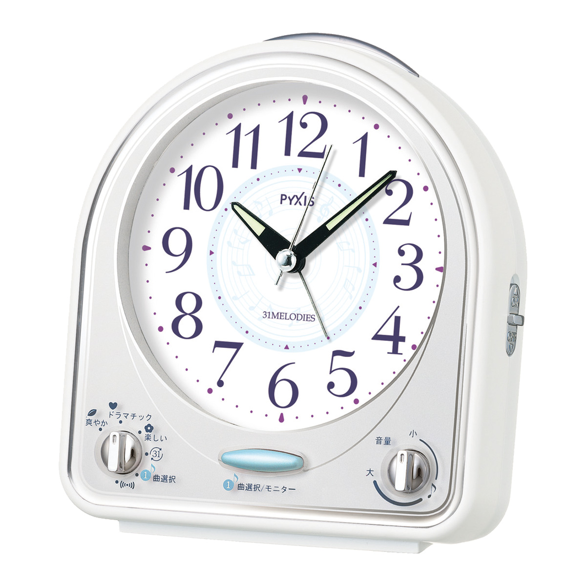 セイコークロック社製 PYXIS(ピクシス) メロディ31曲 目覚まし時計 NR435