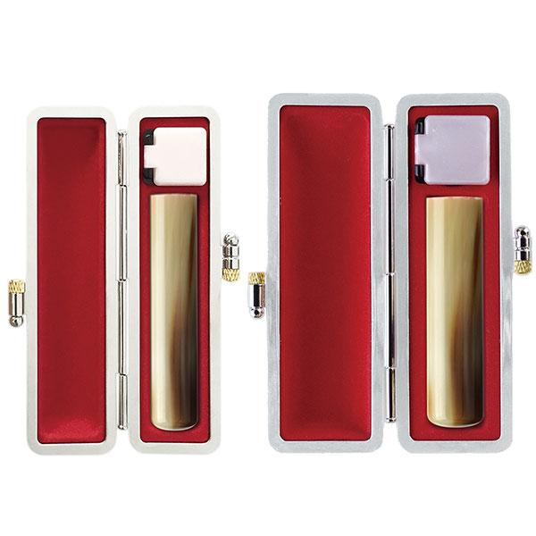 実印2本セット 牛角(色・並)12mm・15mm 銀枠牛革グランドケース
