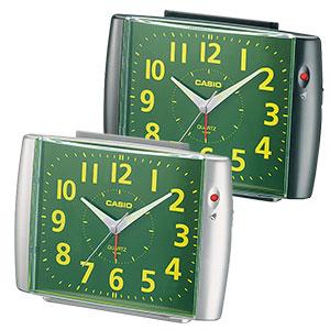 カシオ アナログ目覚まし時計 ベル音タイプ 集光樹脂文字板 ブラック シルバー