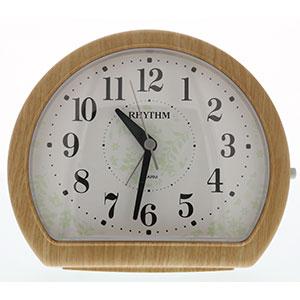 リズム時計 リズム 卓上型アナログ時計 円形 木目調 薄茶