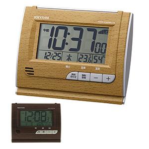 リズム時計 リズム 卓上電波時計 電子音アラーム 4段階切替機能付き 茶色 濃茶