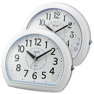 リズム時計 デイリー 卓上アナログ時計 円形 青 紫