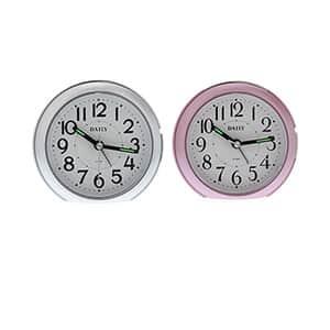 リズム時計 デイリー 卓上アナログ時計 円球 シルバーメタリック ピンクシルバー
