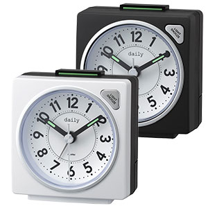 リズム時計 デイリー 卓上アナログ時計 四角形 6色展開