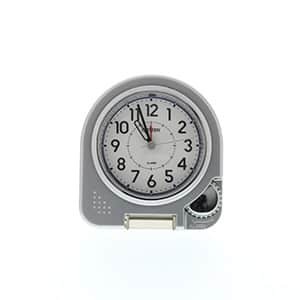 シチズン時計 カバー付き 持ち運び アナログ時計 シルバーメタリック