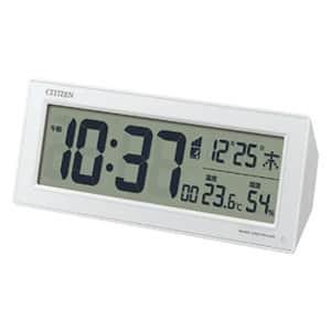 シチズン 夜でもわかる 自動点灯機能付き 卓上電波時計 ホワイト
