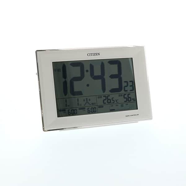 シチズン 生活環境お知らせ機能付き  卓上電波時計 ホワイト