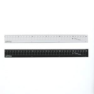 アルミ定規 30cm シルバー ブラック