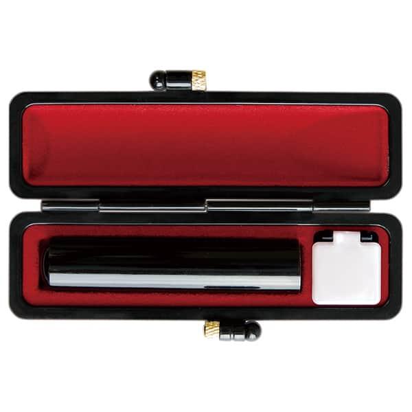 印鑑 芯持黒水牛 12mm オリジナルブラックケース 認印・銀行印向き