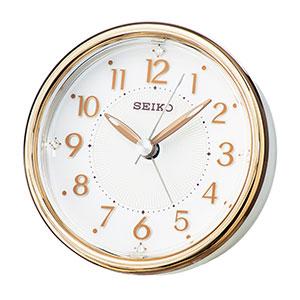 セイコークロック アナログ目覚まし時計 卓上 銅色光沢仕上げ 薄ピンク光沢仕上げ KR897