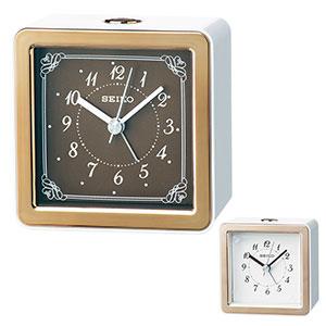 セイコークロック アナログ目覚まし時計 卓上 銅色光沢仕上げ 薄ピンク光沢仕上げ KR898