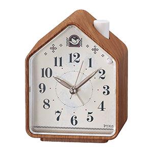 セイコークロック社製 PYXIS ネイチャーサウンド音源 目覚まし時計 茶木目模様 NR444