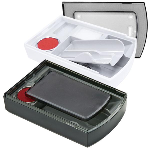 シヤチハタ 印章ケース 朱肉+マット付き シクオス デュオ 2本セット用
