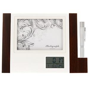 電波時計付きフォトフレーム クアトロ+シャチハタ ギフト専用ネームペン