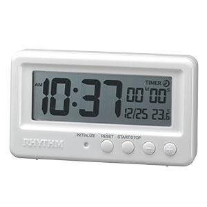 リズム時計 リズム デジタル時計 アクアプルーフ 8RDA72SR 白 緑