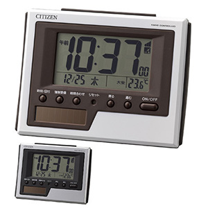 シチズン デジタル電波時計 ソーラーパワーアシスト式 8RZ186 白 シルバーメタリック 卓上