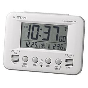 リズム時計 リズム デジタル電波時計 フィットウェーブD191 8RZ191SR 黒 白 卓上