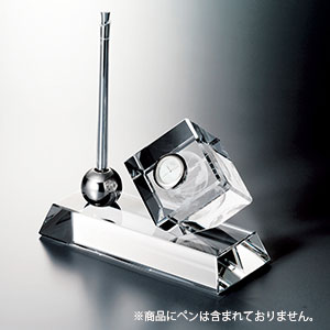 NARUMI グラスワークス リンク ペンスタンド 3Dアース キューブクロック 光学ガラス
