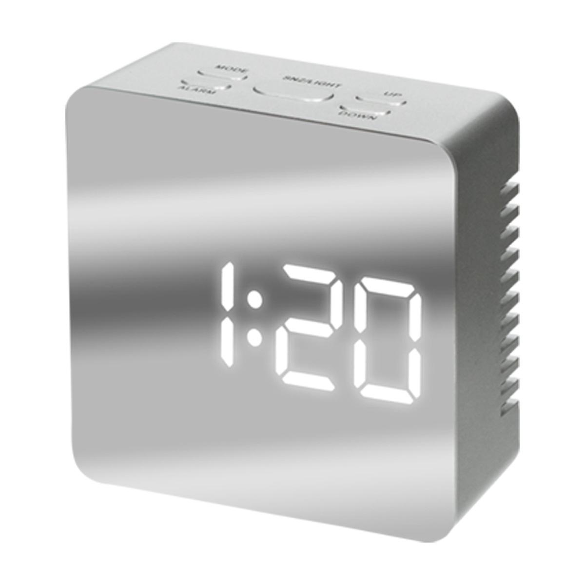 ミラークロック スクエア 卓上 目覚まし デジタル表示