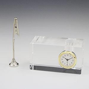 クリップ・ペンスタンド付 クリスタル時計 セイコークロック製時計付