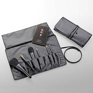 熊野化粧筆6本セット 筆の心 ブラシ専用ケース付