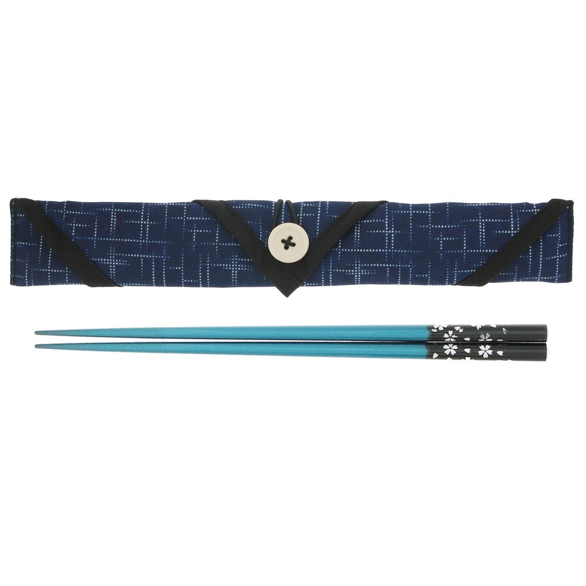 天然木マイ箸セット 銀舞桜 青 + 箸袋 かすり紺