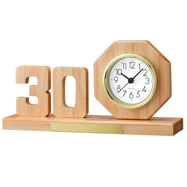 ヒノキ切抜き記念時計 数字