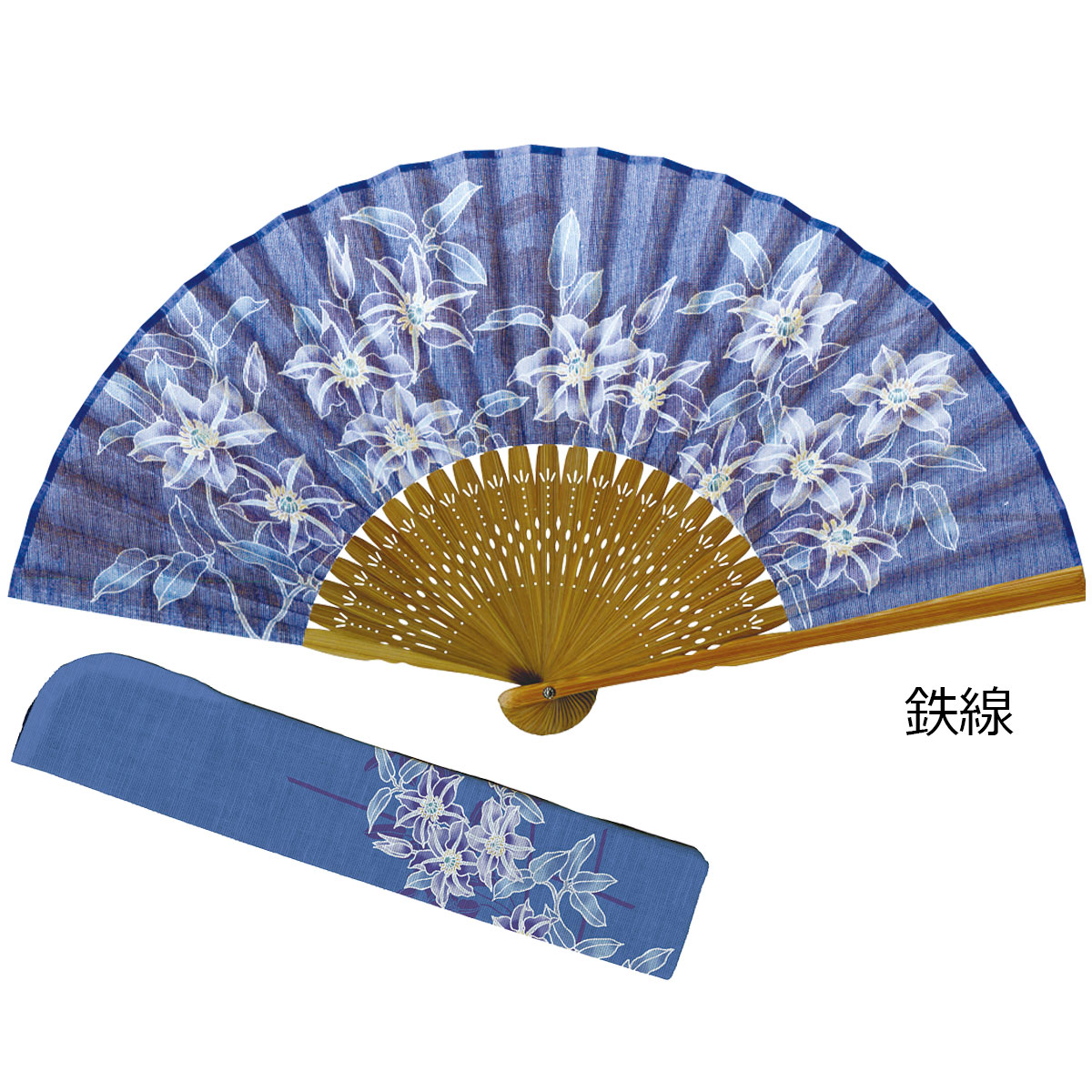 藍の彩り扇子 同柄差し袋セット