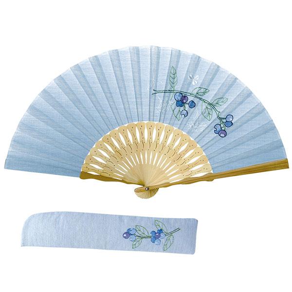 ボタニカル刺繡扇子 同柄差し袋セット