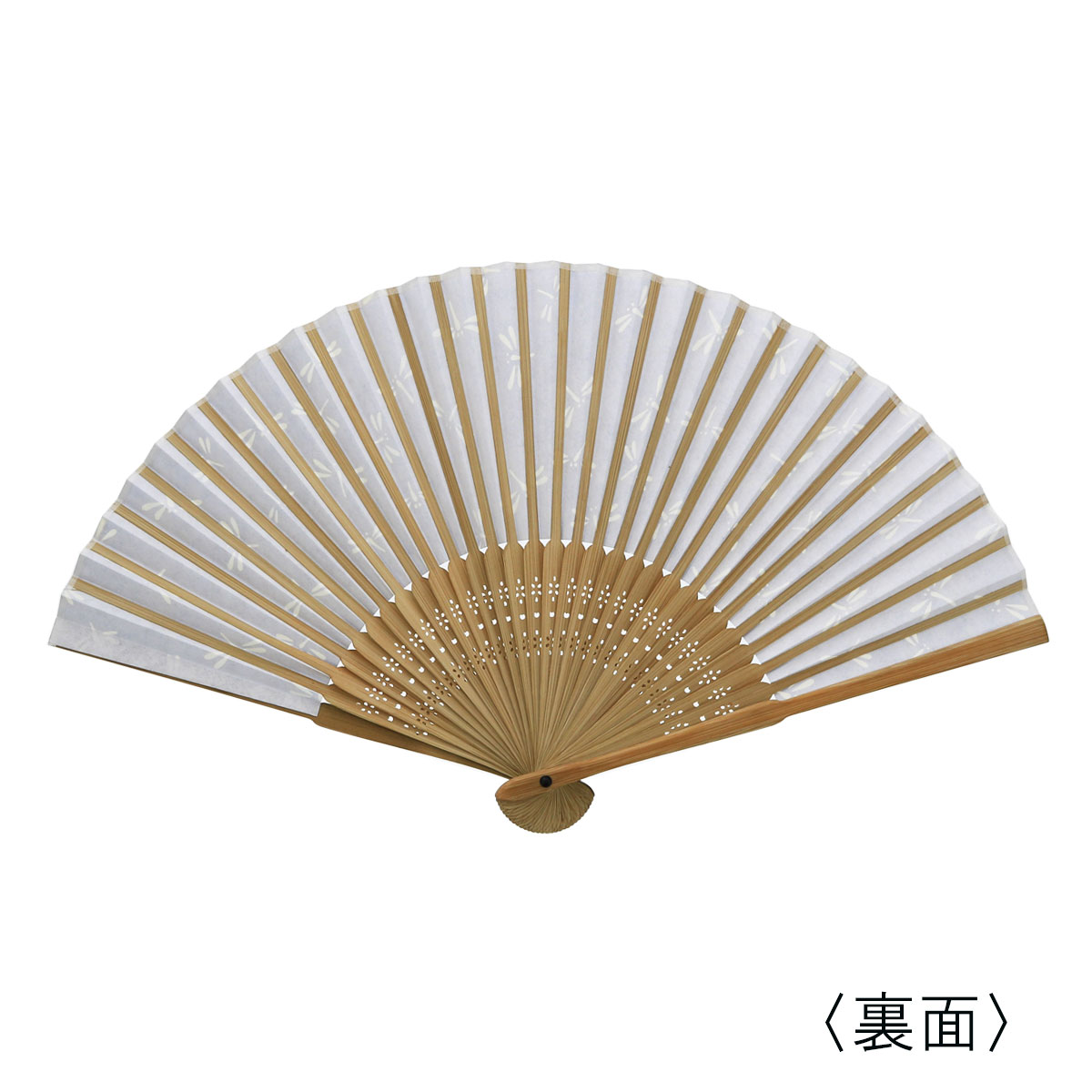 彩り和紙扇子 唐木中彫 紺地 トンボ