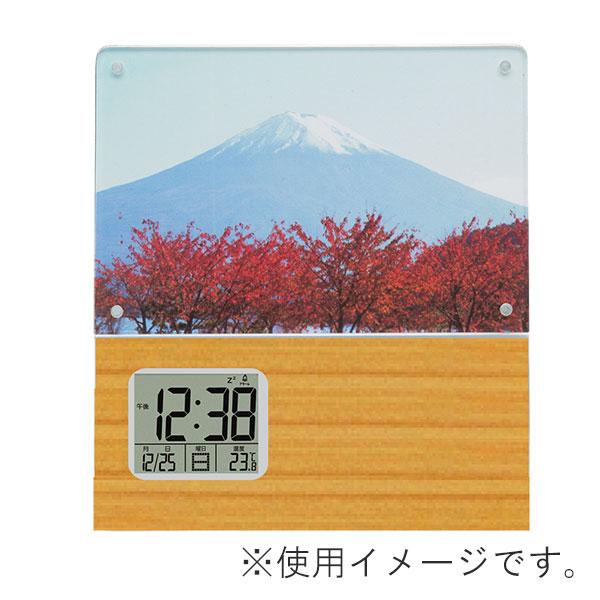 竹製 フォトフレーム付デジタルクロック