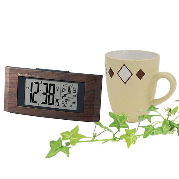 木目調 デジタル電波時計