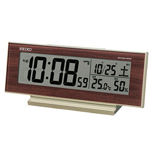 セイコークロック 自動点灯機能付き電波目覚まし時計 SQ788B