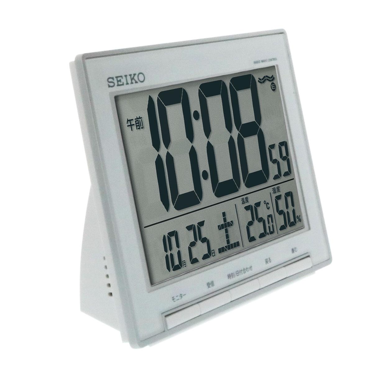 セイコークロック 温湿度表示付き電波目覚まし時計 SQ786S